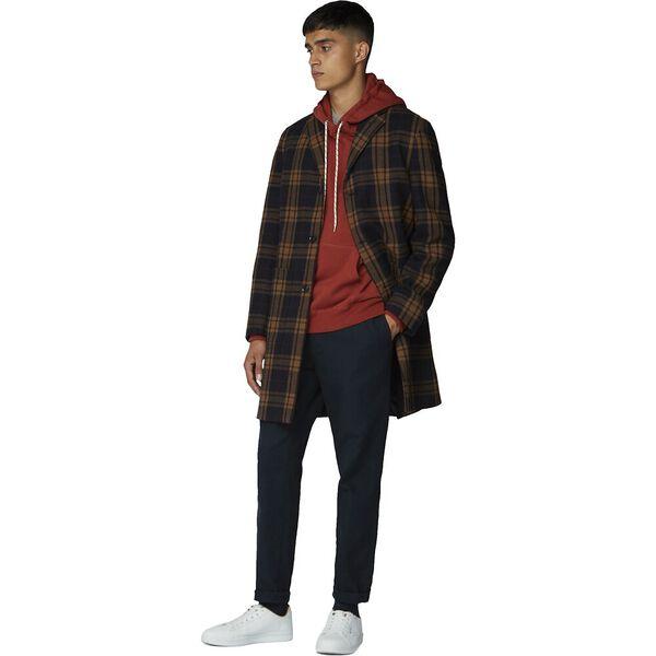 Check Long Tailored Coat Black