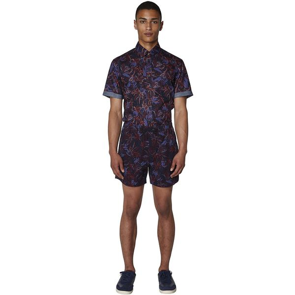 TROPICAL FLORAL SHORT, NAVY BLAZER, hi-res
