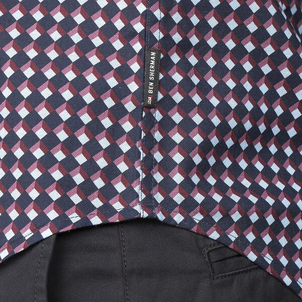 OXFORD GEO SHIRT, DARK NAVY, hi-res