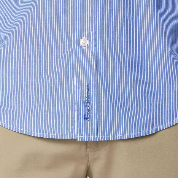 SIMPLE STRIPE MOD SHIRT, BRIGHT BLUE, hi-res