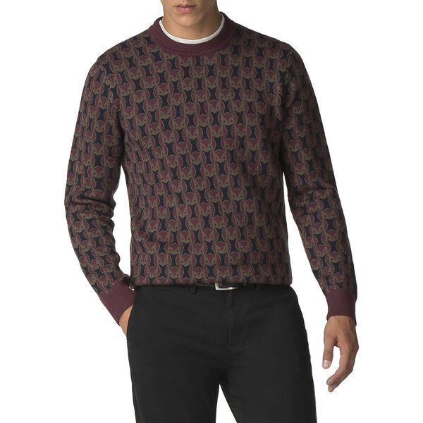 Owl All Over Knit, WINE, hi-res