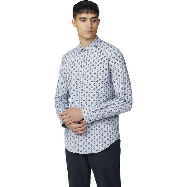 Ls Scattered Fairisle Shirt Dark Blue, DARK BLUE, hi-res