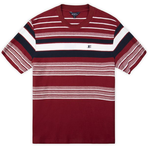 REVERSE KNIT STRIPE TEE, RED, hi-res