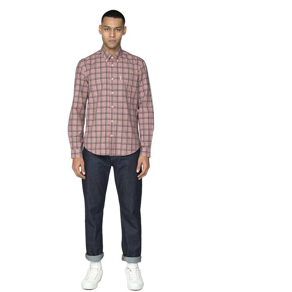 SLUB STRIPE CHECK SHIRT, ROSE, hi-res