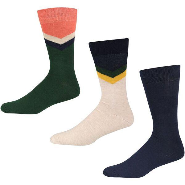 Tiger Roll 3Pk Socks Navy/Oatmeal/Bottle