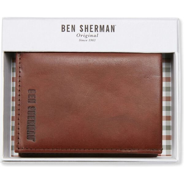 LEATHER RBIFOLD CC WALLET, BROWN, hi-res