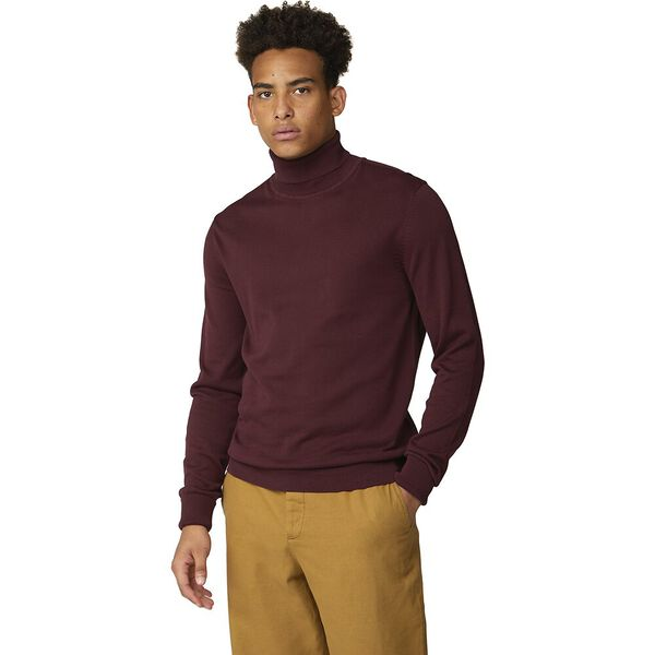 SIGNATURE COTTON ROLL NECK KNIT, PORT, hi-res