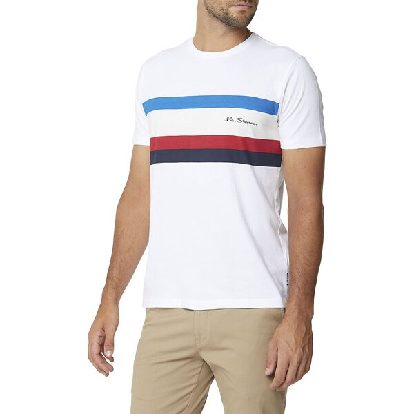 Chest Stripe Tee White, WHITE, hi-res