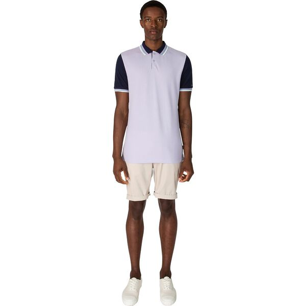 CONTRAST SLEEVE POLO, LAVENDER, hi-res