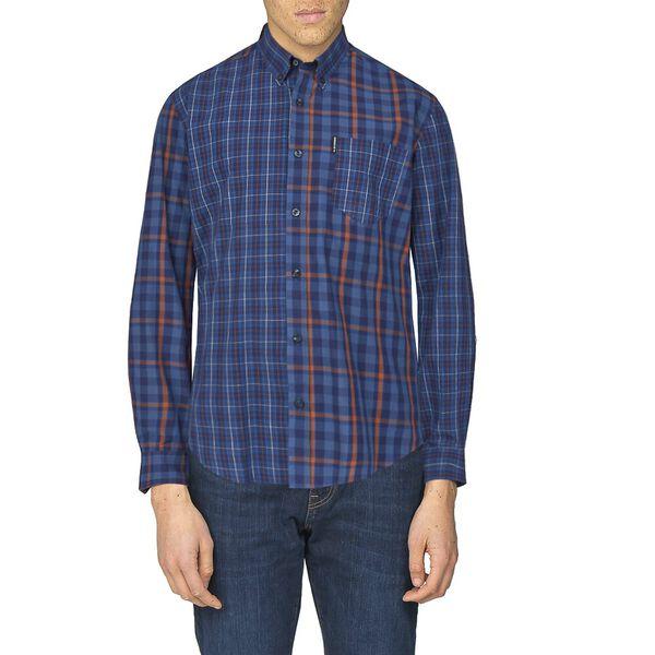 Mixed Check Shirt, DARK NAVY, hi-res