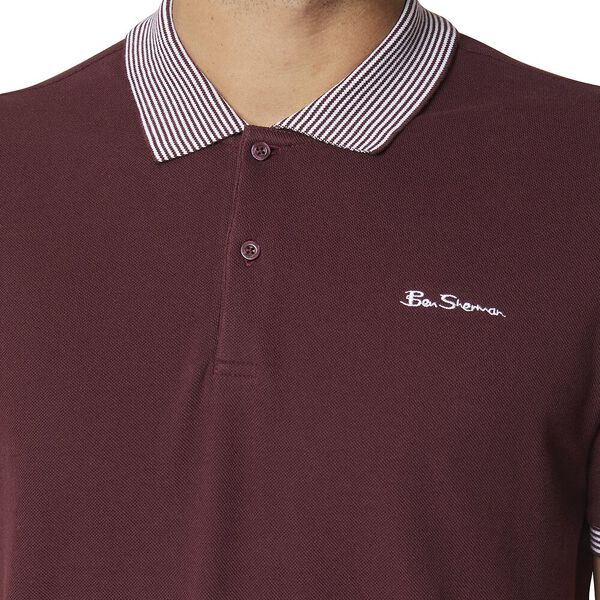 Stripe Collar Polo Wine, WINE, hi-res