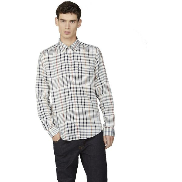OVERSIZED STRIPE CHECK SHIRT, SNOW WHITE, hi-res