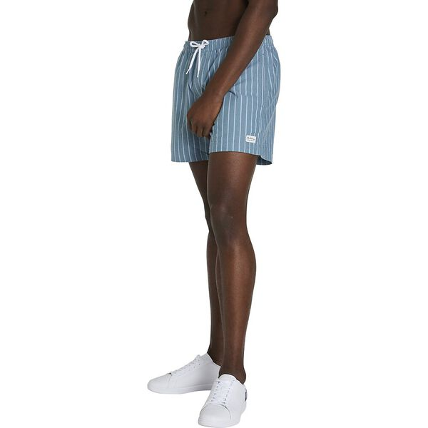 STRIPE OXFORD ELASTIC SHORT, TEAL BLUE, hi-res