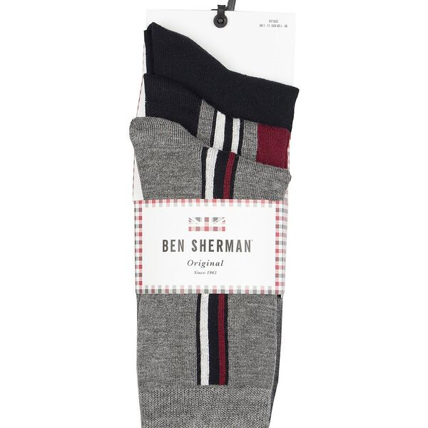Grundy 3Pk Socks Grey/Black/Red
