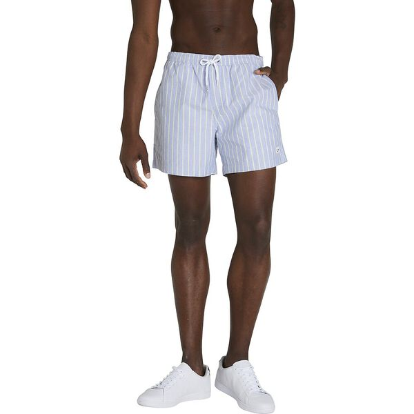 STRIPE OXFORD ELASTIC SHORT, LT INDIGO, hi-res