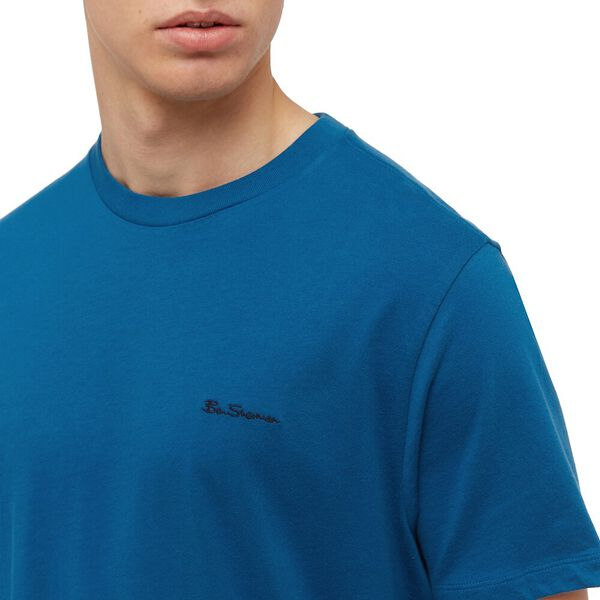 SIGNATURE CHEST EMBROIDERY TEE, PETROL BLUE, hi-res