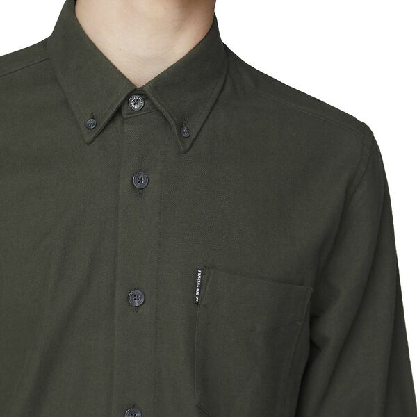 Ls Brushed Shirt Dark Green, DARK GREEN, hi-res