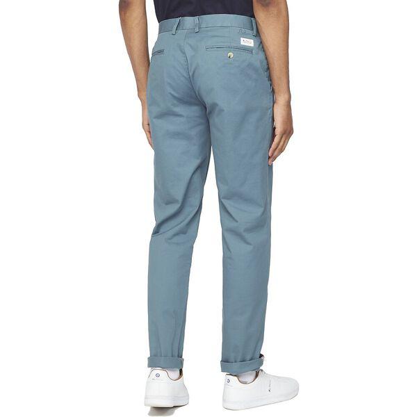 ORGANIC SLIM STRETCH PANTS, TEAL, hi-res