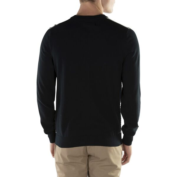 MONOCHROME GEO KNITTED CREW BLACK, BLACK, hi-res