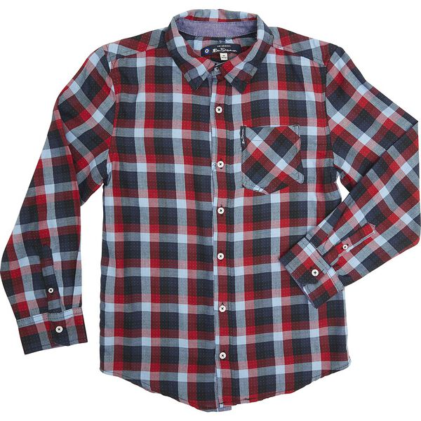 LS DOTTED CHECK SHIRT RED, RED, hi-res