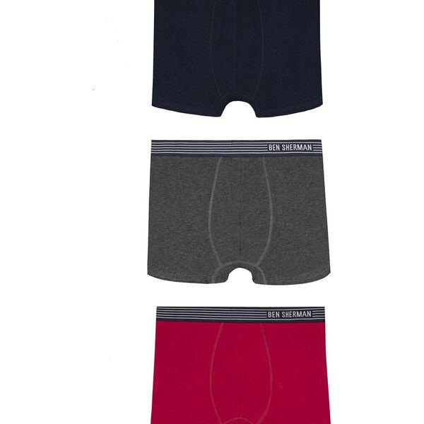 Alexander 3Pk Trunks Navy/Charcoal/Claret