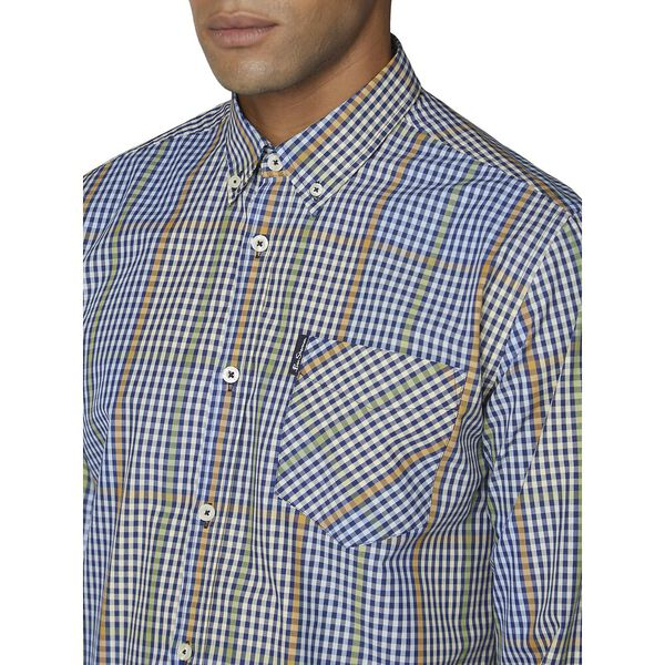 Ls Blocked Gingham Shirt Dark Navy, DARK NAVY, hi-res