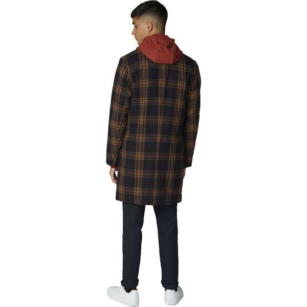 Check Long Tailored Coat Black, BLACK, hi-res
