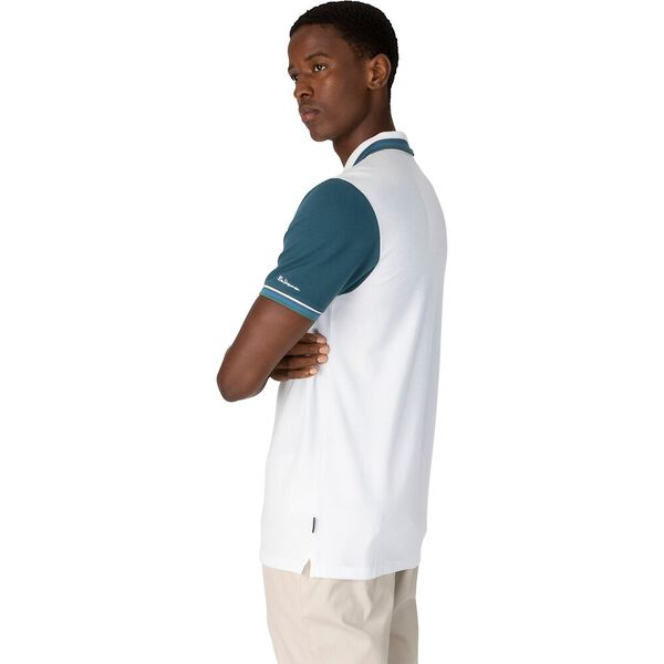 CONTRAST SLEEVE POLO, WHITE, hi-res