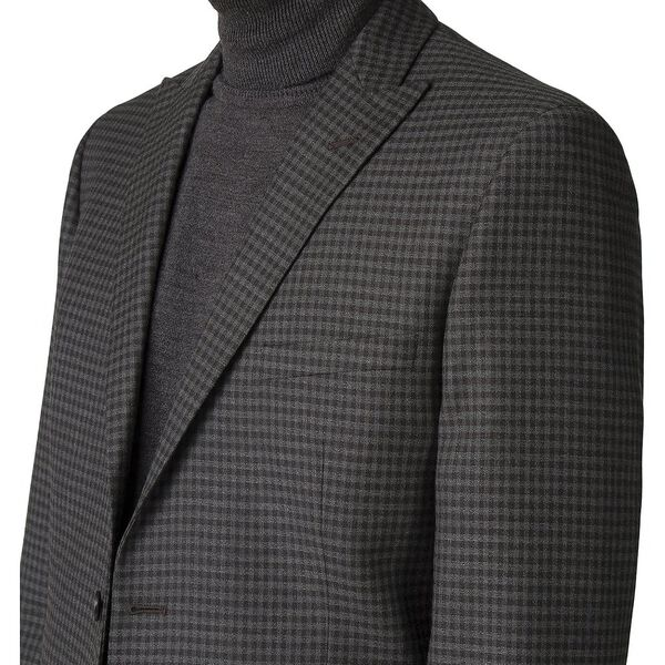 BRITISH CREPE WEAVE GINGHAM JACKET, CHARCOAL, hi-res