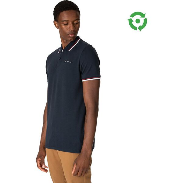 ORGANIC SIGNATURE POLO, NAVY WHITE, hi-res