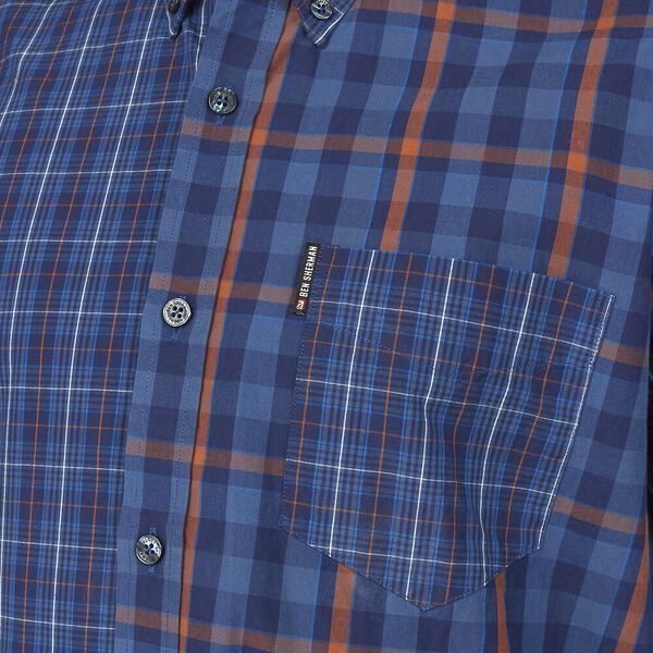Mixed Check Shirt, DARK NAVY, hi-res