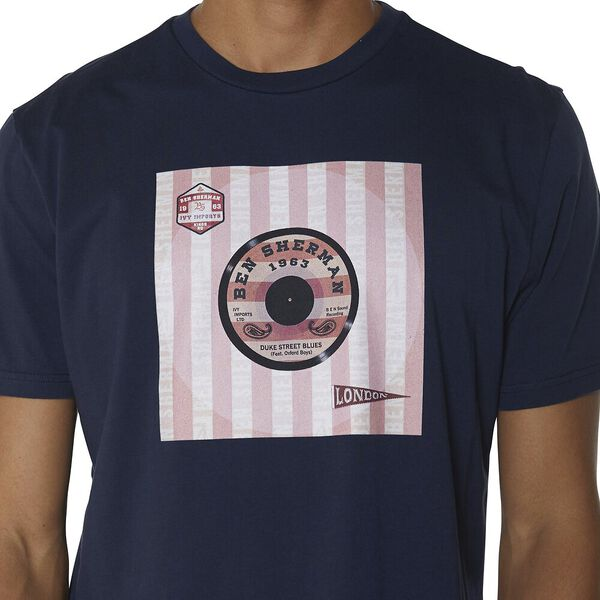 VINYL COVER T-SHIRT, DARK NAVY, hi-res