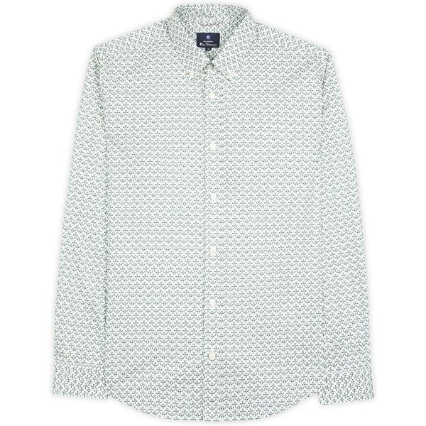 2 Col Print Shirt, TREKKING GREEN, hi-res