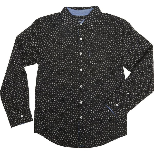 Ls Geometric Shirt Black