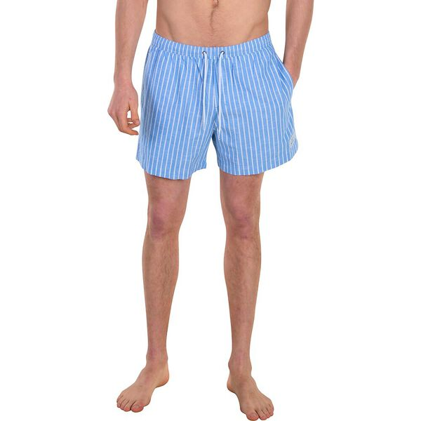 STRIPE ELASTIC SHORT, LIGHT INDIGO, hi-res