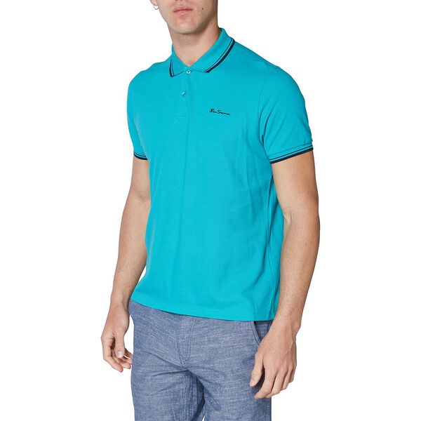 BASIC SCRIPT POLO W TIPPING JADE GREEN, JADE GREEN, hi-res