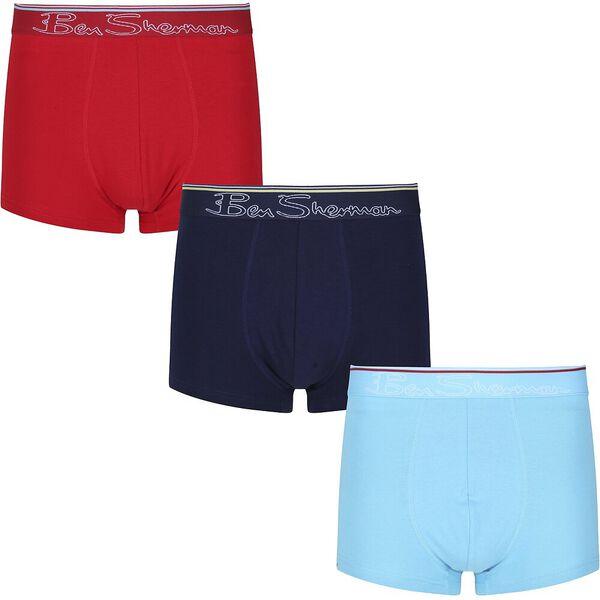 CARLOS 3 PACK TRUNKS, NAVY / BLUE / RED, hi-res