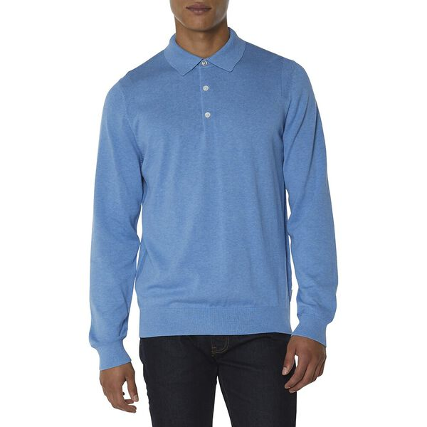 L/S KNIT POLO KNIT, JAZZY BLUE, hi-res