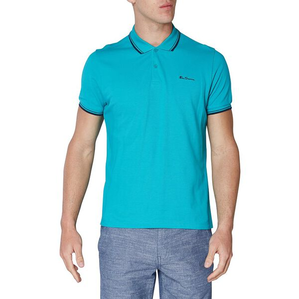 Basic Script Polo W Tipping Jade Green