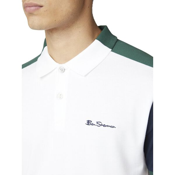 COLOUR BLOCKED POLO, WHITE, hi-res