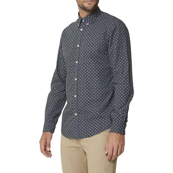 Multi Dot Print Ls Mod Shirt Charcoal, CHARCOAL, hi-res
