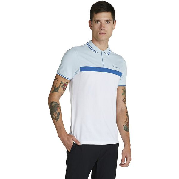 CONTRAST PANEL POLO, BLUE, hi-res