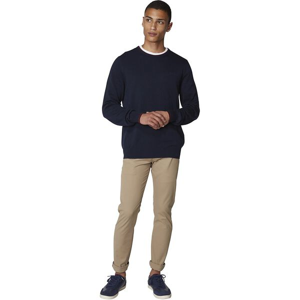 Tipped Crew Neck Knit, NAVY, hi-res