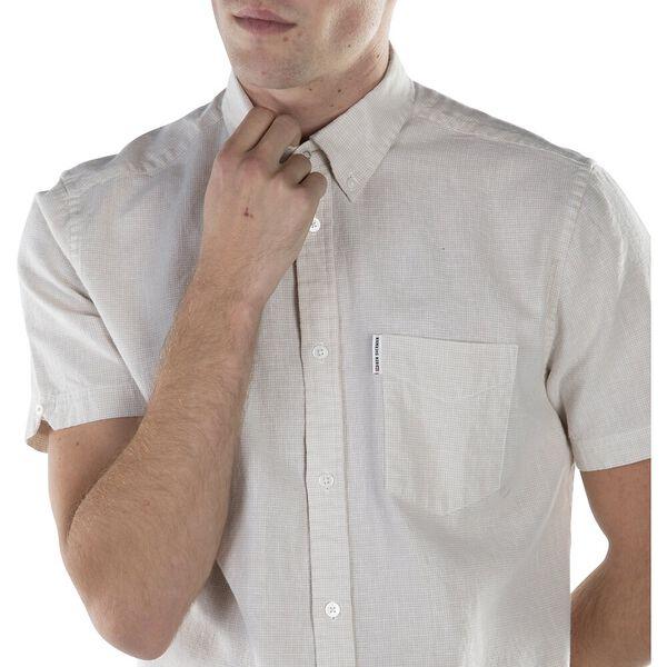 Linen Blend Houndstooth Shirt, OFF WHITE, hi-res