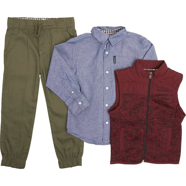3 Piece Set With Vest Washed Blue/Burgundy
