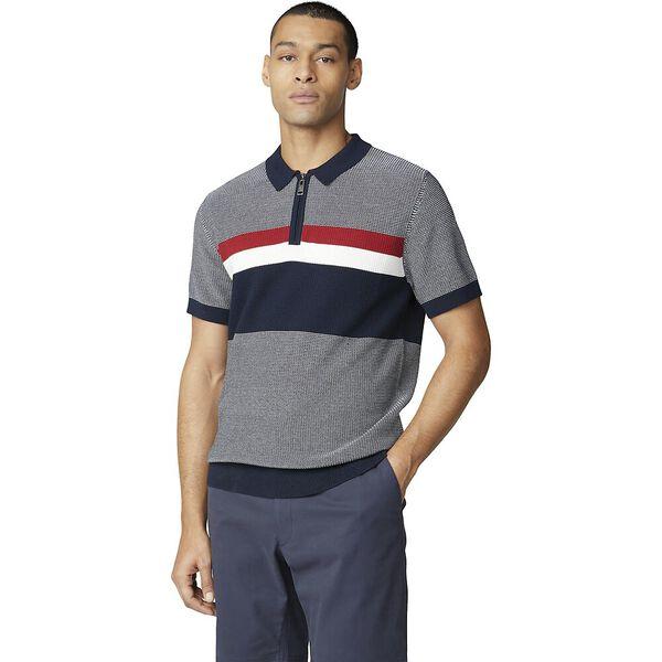 Chest Stripe Zip Knit, DARK NAVY, hi-res