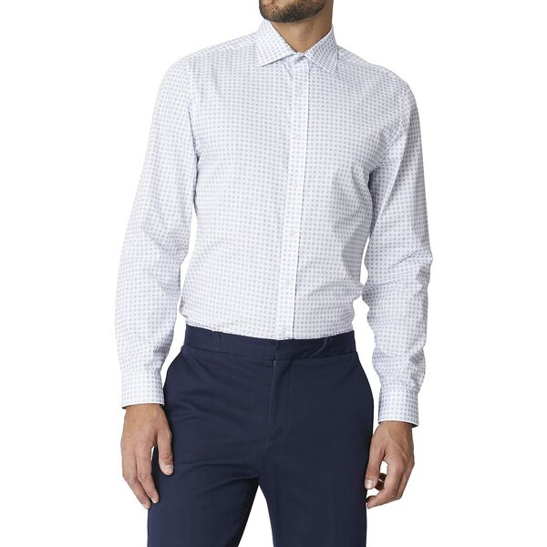 Ls Formal Kings Geo Grid Shirt True Navy