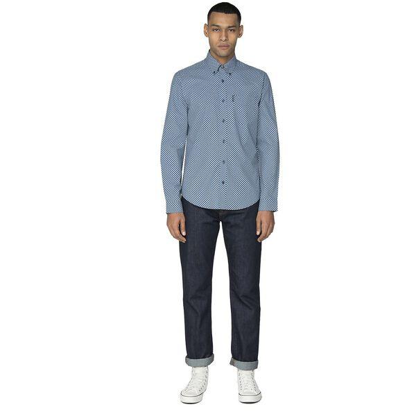 Duo Tone Geo Shirt, DARK BLUE, hi-res