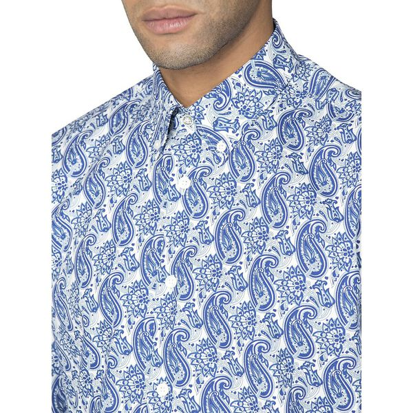 LS LINEAR PAISLEY SHIRT, DARK NAVY, hi-res
