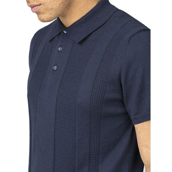 Textured Stripe Front Polo Knit Dark Nav, DARK NAVY, hi-res